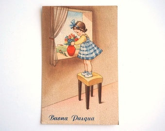 Happy Easter vintage Italian postcard with baby child and vase of flowers, 1940s unwritten postcard, Happy Easter vintage card