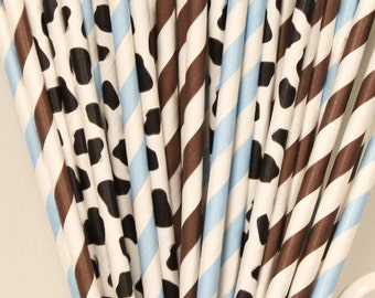 Paper Straws, 20 COWBOY Party Paper Straw Mix, Farm Animals, Birthday Party, Down on the Farm, Boy, Baby Shower, Farm Birthday Party, CUTE
