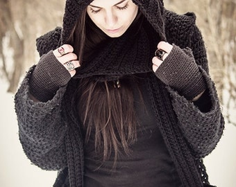 Long Hooded Scarf with Pockets