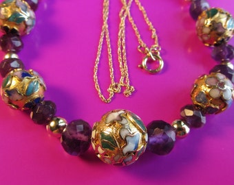 """14k Gold Amethyst Faceted Rondelles, Cloissone and 14k Gold Beads Necklace 18"""" 11.52g"""
