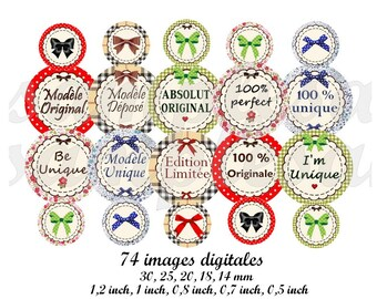 Digital collage sheet, digital images  quotes, sentences, words, slogan. 1 inch circle , bottle cap , vintage collage instant download