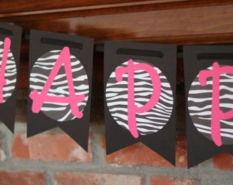 30th Birthday Banner Hot Pink and Black Banner Happy 30th Banner Zebra Hot Pink and Black Birthday Banner Another Year of Fabulous