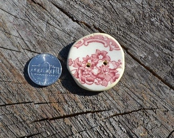 Huge button, old big button, vintage big button, ceramic button, pink and white button, cool button, recycled buttons, oversized button