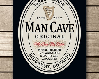 Man Cave Sign, Guinness Sign, Man Cave Board, Groom gift, Beer sign, Groomsman gift, Best man gift, Man sign, Bar sign, Pub sign, Bar rules