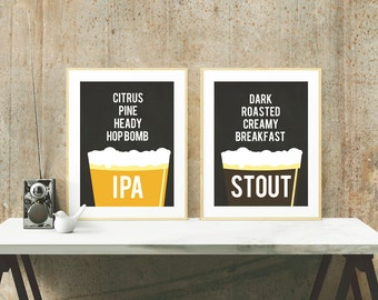 Beer Poster Set - IPA Stout - Beer Lover and Craft Beer Gifts - Home Brew Posters - 5x7 and 8x10 art - instant download