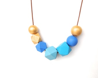 Blue Gold Geometric Bead Necklace -  Wood Beaded Necklace - Geometric Jewelry