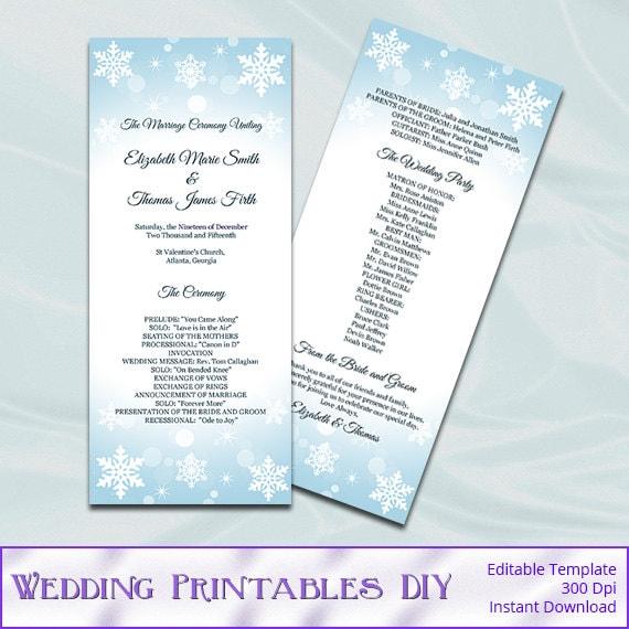 winter wedding program templates