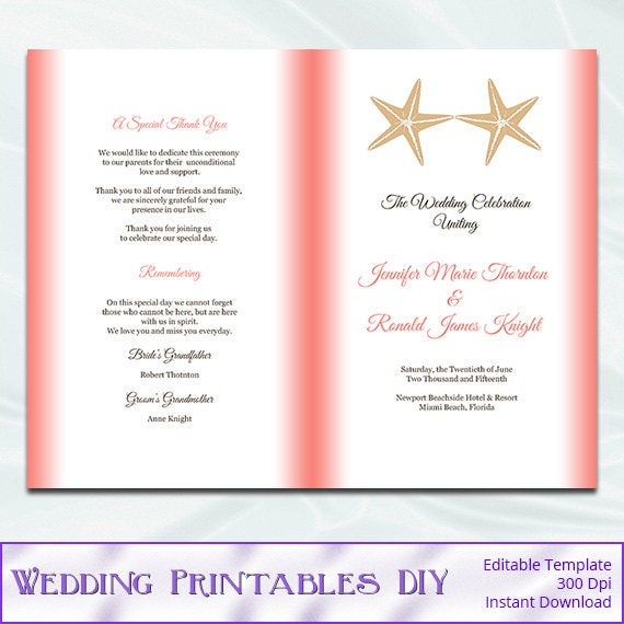 items similar to coral beach wedding program template diy starfish ceremony booklet church. Black Bedroom Furniture Sets. Home Design Ideas