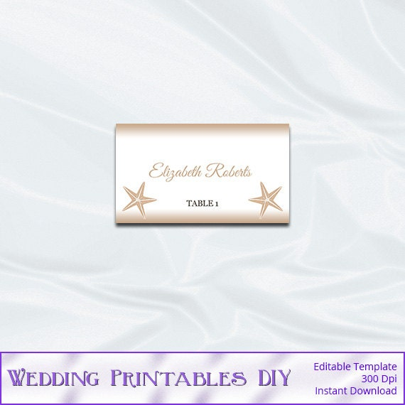 rustic beach wedding place card template by
