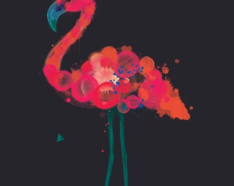 Florence. Flamingo print on foam pvc board, A2 and A1 available, unframed.