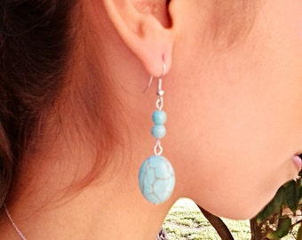 Turquoise Oval Dangel Silver Earrings with Two Beads / Turquoise Howlite Earrings