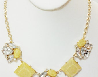 Yellow and Crystal Clear Gold Chain Necklace / Bib Necklace.