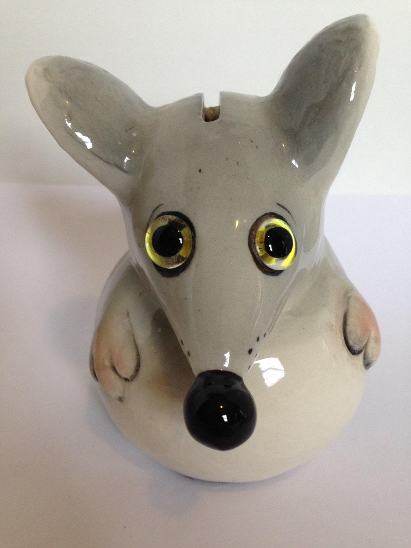 Vintage Lefton Mouse Ceramic Piggy Bank Gray Mouse Black Tail