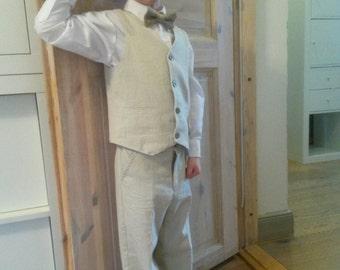 Boys Linen Suit  Wedding Outfit Vest and Pants Newboy Hat Set Ring Bearer Outfit Church,Portraits