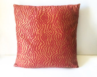 Red & Gold Copper Metallic Animal Print Cushion Throw Pillow Cover 16x16 or 18x18 inches