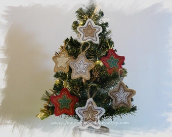 Burlap (Hessian) Christmas Star Ornament In The Hoop Machine Embroidery Design