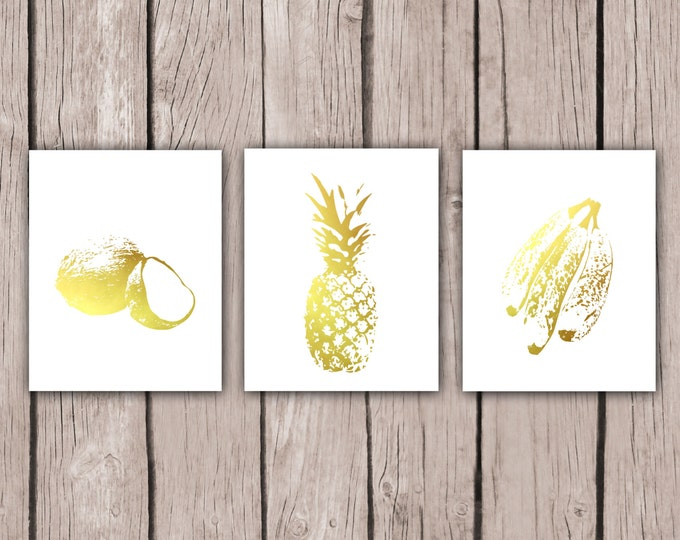 Home Decor - Pineapple, Coconut, Banana Print, Gold Foil Kitchen Decor, Beach House Art, Tropical Paradise, Housewarming Gift for Wife Food