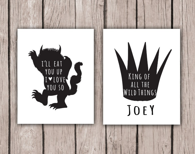 Where The Wild Things Are, I'll Eat You Up I Love You So, Nursery Decor for Boy Black and White Wall Art Print Baby Shower Jungle Birthday