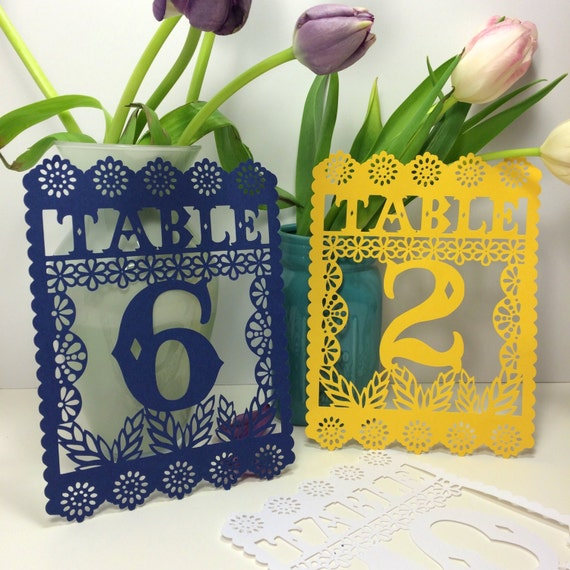 Papel picado table numbers fiesta decorations mexican for Number 1 decorations