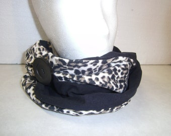 scarf, scarf, Jersey scarf, leo-look, black, unique, handmade, himmeldurchnadeloehr