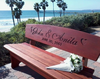 Wedding Bench, Custom Engraved Redwood Stained Bench - for Bride and Groom