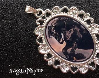 Black Mustang Pendant - Black Mustang Necklace - Black Horse Pendant - Black Horse Necklace - Horse Jewelry
