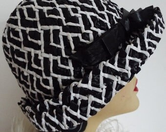 1950's Vintage Hat Straw Black Ivory Upturned Brim Cloche with Black banding and Bow
