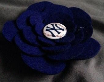New York Yankees Blue and White Felt Flower Hair Clip