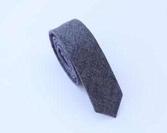 Blue Wool Tie.Blue Herringbone Wool Tie.Mens Skinny Tie.Tie for Wedding.Gift.Prom.