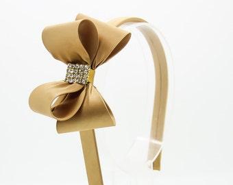 Antique Gold Bow Headband, Girl's Headband, Toddler Headband, Gold Hard Headband, Bow Headband, Flower Girl Headband, Girl Headband, 970