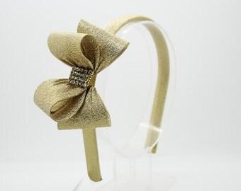 Sparkle Gold Bow Headband, Girl's Headband, Toddler Headband, Gold Hard Headband, Bow Headband, Flower Girl Headband, Girl Headband, 970
