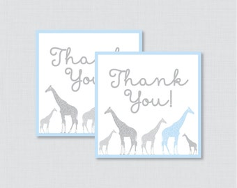 Printable Giraffe Baby Shower Favor Tags Thank You Tag for Giraffe Baby Shower - Printable Instant Download - Blue Giraffe Favor - 0011-B
