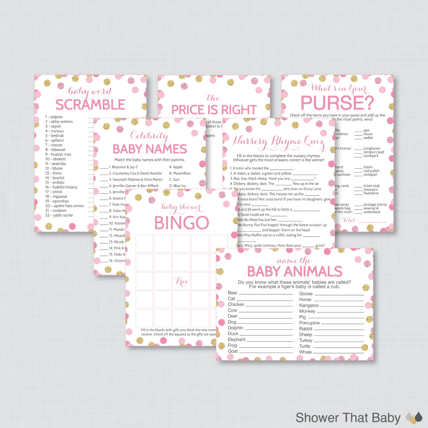 Baby Shower Games: Pink And Gold Baby Shower Games Package With Glitter Polka