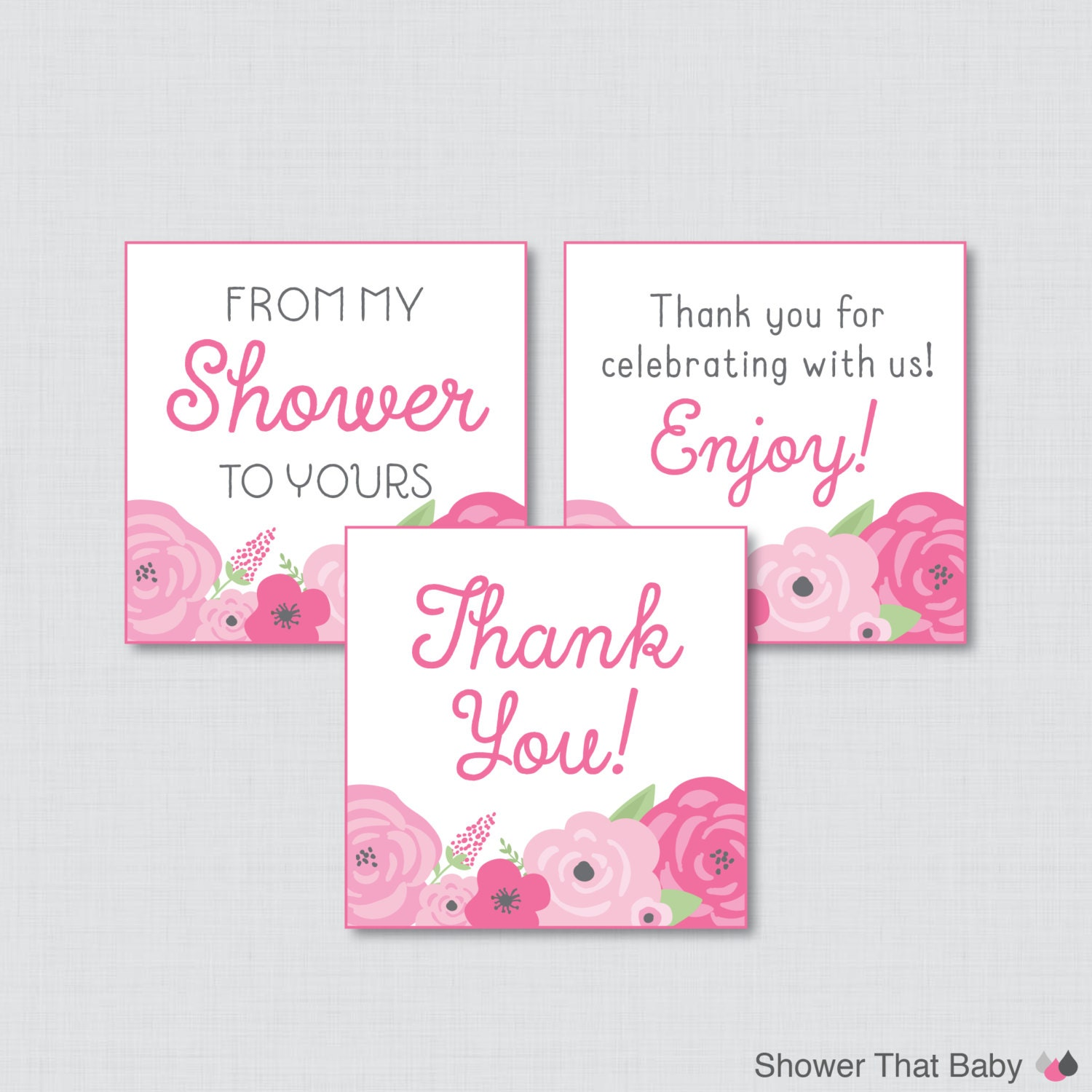 Baby Shower Tags Images ~ Flower baby shower printable favor tag spring