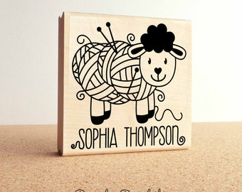 "Large 3x3"" Personalized Knitting Rubber Stamp, Custom Handmade Knitting Label Stamp"