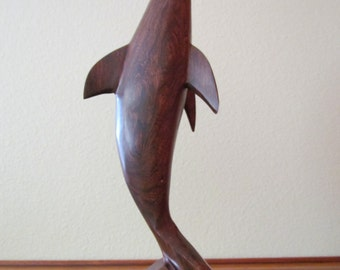Beautiful Hand Carved Ironwood Dolphin, a Must for Any Collection!