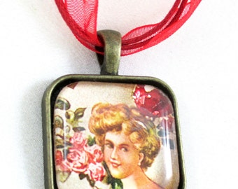 Glass Pendant Necklace, Pendant Necklace, Photo Pendant, Photo Necklace, Bronze Necklace, Chain Necklace