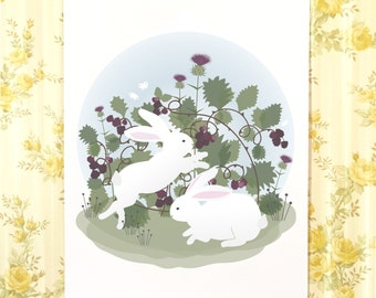 Bunnies and blackberries poster, White rabbits, wall art, kids decor, nursery art, girls room, boys room, cute bunnies