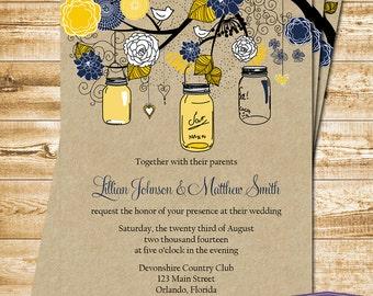 Mason Jar Wedding Invitation - Yellow and Navy Mason Jar Wedding Invite - Rustic Wedding Invitation Wedding - 6022 PRINTABLE