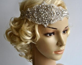 Luxury Pearls Rhinestone Headband, Bridal Headband, Wedding Headpiece, Hair Piece, Ribbon tie on Bridal Headband,wedding bridesmaid headband
