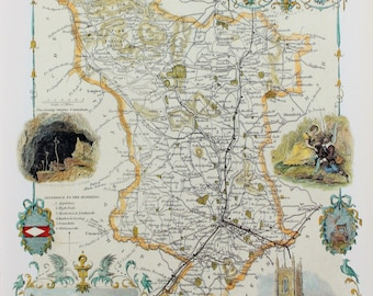 Vintage Map, Derbyshire, Thomas Moule County Map of Old England.