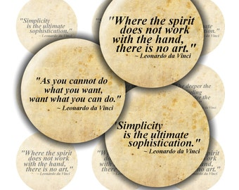 Quote Bottle Cap Images ~*DIGITAL*~ Leonardo da Vinci Quotes- For Resin Pendants ~*1 Inch Printable Circles*~ 183