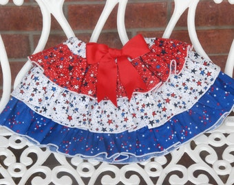 Red White and Blue 4th of July Ruffle Skirt! Girl Stars Ruffle Skirt! 4th of July Skirt/Stars/Patriotic Ruffle Skirt/4th of July Skirt