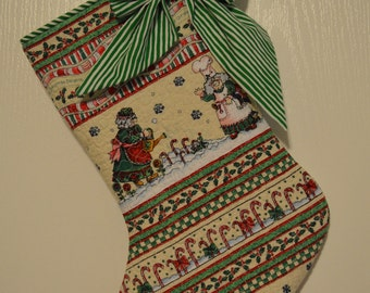 Quilted Christmas Stocking, Gift Bag, Mrs Kringle ,Ready to Ship