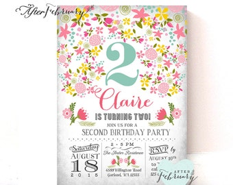 Spring Summer Birthday Invitation // Little Girl Birthday Invite // Summer Floral Cottage Chic // Printable No.952KIDS