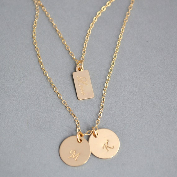 layered initial necklace personalized gold necklace two