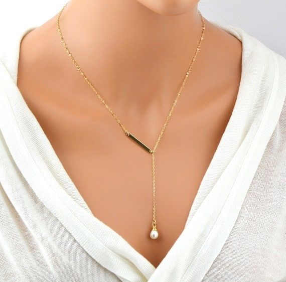 Single Pearl Necklace Gold Y Necklace Gold Bar Lariat
