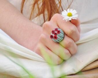 Cerulean poppy ring, handmade polymer clay ring, handmade poppies, spring ring