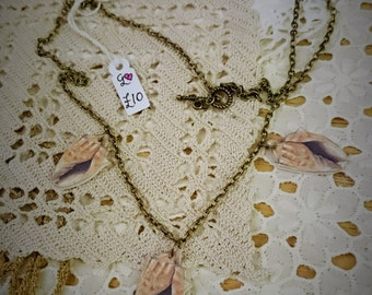Illustrated Shell Necklace, shrink plastic