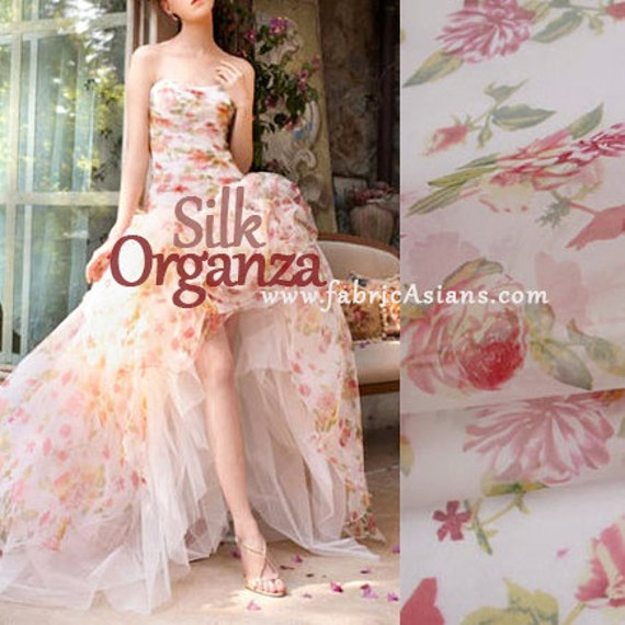 pink roses silk organza by the yard black red silk fabric wedding dress fabric from on etsy studio